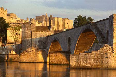 The Saint Benezet Bridge and the Pope's Palace seen from the Rhone...